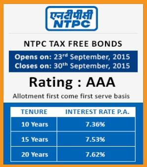 NTPC Tax Free Bonds September 2015